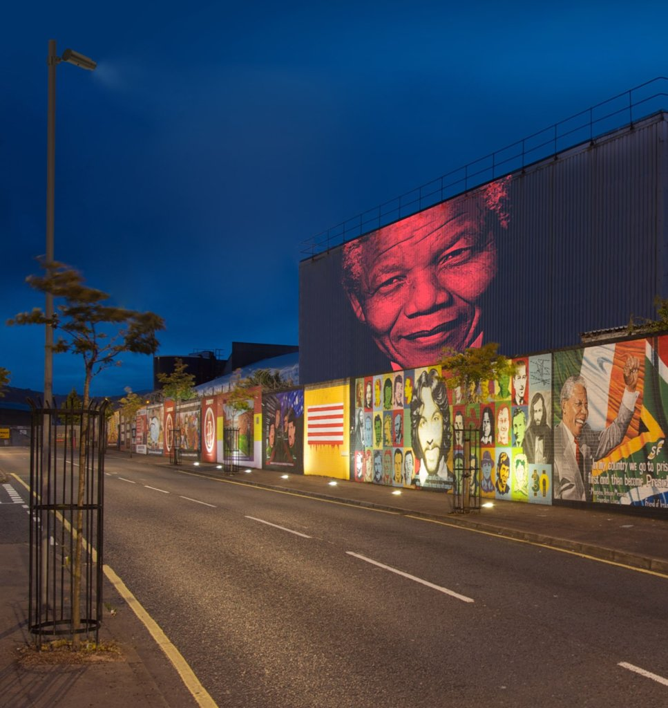 Nelson Mandela projected onto wall with Skin Changer
