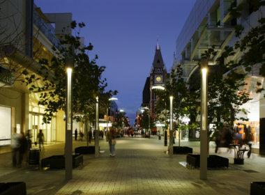Hay Street Mall night photo showing the Mondoluce supplied lighting