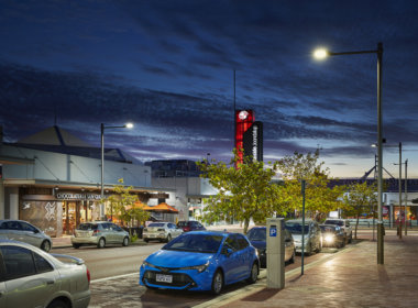Joondalup City Centre night photo showing the Mondoluce supplied lighting