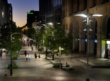 Murray Street Mall lit up at night showing the Mondoluce supplied lighting