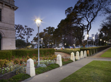Parliament House Perth at night showing the Mondoluce supplied lighting